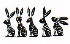 Linie der Hasen Heft Lino cut Kunst Viecher von melaniewickham
