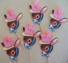 Vintage Deer Cupcake Toppers With Pink Puff Set of Six by JeanKnee, $7.00