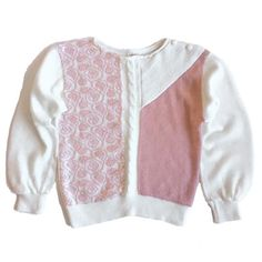 Vintage pink and white sweater, with cable knit detail and abstract floral pattern. Has ribbed cuffs and bottom, with lovely subtle balloon sleeves, and two button detail at shoulder. Hand wash cold, made in Italy. Vintage Clothing, Vintage Outfits, Balloon Sleeves, White Sweaters, Vintage Pink, Cable Knit, Vintage Shops, Pink White, Cuffs