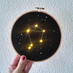 Libra constellation with LED! For lovers of astrology and space. The constellation is hand-stitched with LEDs, so that when you tur on the button, the stars glows! * This