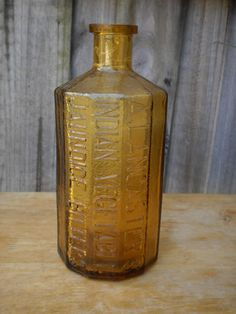 Wheaton Amber Glass Lancasters Indian Vegetable Bitters Bottle.
