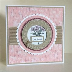 Blooms and Bliss designer papers with a stamp from Avant-Garden. You might notice I have distressed the edges of the papers and card stock, not easy for me! Created by Julia Jordan.