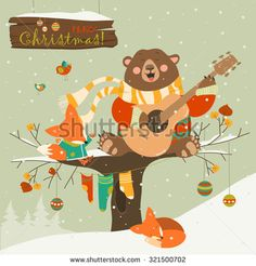Cute bear and little fox celebrating Christmas. Vector greeting card