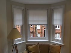 Roller blinds from our Basics Range, are an economical choice. We made and fitted these in white for a bay window living room in Chelsea, London. Prices start from Bay Window Living Room, Living Room Blinds, Bay Window Blinds, Blinds For Windows, Blinds Inspiration, White Blinds, Made To Measure Blinds, Chelsea London, Brighton And Hove