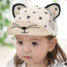 Cute cat baseball cap for baby creative kitten hats with ears Ear Hats, Kids Hats, Baseball Cap, Ears, Kitten, Cute, Fashion, Spring, Cap