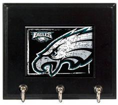 Philadelphia Eagles Wood Keyhook Rack