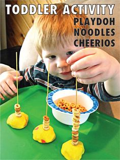 Toddler activity with play doh, spaghetti noodles and cheerios. Good for fine motor skills Toddler Learning Activities, Games For Toddlers, Motor Activities, Craft Activities For Kids, Infant Activities, Kids Learning, Playdough Activities, Family Activities, Fine Motor Activity