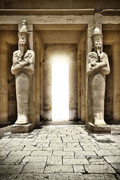The Mortuary Temple of Queen Hatshepsut, located beneath the cliffs at Deir el Bahari on the west bank of the Nile near the Valley of the Kings in Egypt. by Scryc