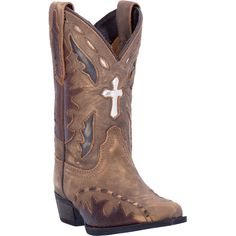 Dan Post Cowboy Certified Childrens Tan Anthem Leather Boots Cross