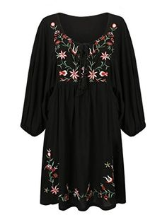 Joeoy Women's Black V Neck Floral Embroidered 3/4 Sleeve ... https://www.amazon.com/dp/B01EHT6YAO/ref=cm_sw_r_pi_dp_x_.BMIybMEKS2SZ