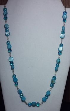 Handmade Beaded Necklace with Aqua Aurora by KimsSimpleTreasures, $20.00