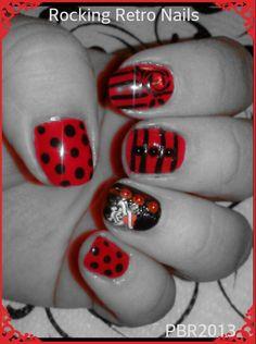 My natural nails painted mixed rockin nails