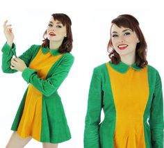 60s Peter Pan Dress 70s Mod Dolly Collar by neonthreadsdesigns