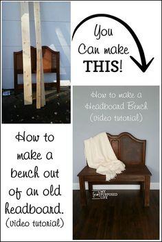 How to make an easy headboard bench step by step tutorial plus a video tutorial MyRepurposedLife.com