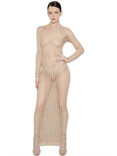 Woven Stretch Cotton Loose Knit Dress