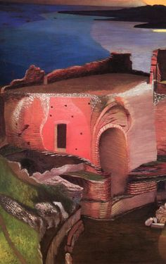 Csontváry Kosztka, Tivadar (Hungarian, - Ruins of the Greek Theatre in Taormina (detail) Arabian Theme, Post Impressionism, Art School, Paths, Paintings, Mood, Canvas, Artist, Life