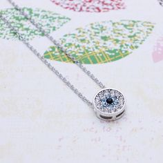 Forget me not  necklace with cubic by shyshiny on Etsy, $9.50