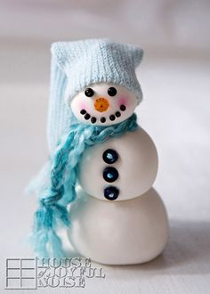 Substituting an adorable, blue knit cap for the traditional black top hat, we hope this little guy will meet a kinder fate than Frosty. Get the tutorial from House of Joyful Noise »  - GoodHousekeeping.com