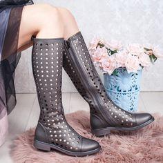 Cizme de vara perforate dama gri Ralesia Combat Boots, Casual, Shoes, Fashion, Babydoll Sheep, Moda, Zapatos, Shoes Outlet, Fashion Styles