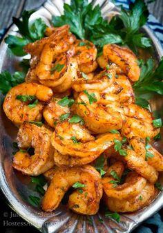 Sensational Baked Blackened Shrimp Recipe delivers a plump mouthwatering shrimp . - Sensational Baked Blackened Shrimp Recipe delivers a plump mouthwatering shrimp that is spicy red a - Shrimp Appetizers, Shrimp Dishes, Great Appetizers, Baked Shrimp Recipes, Seafood Recipes, Cooking Recipes, Healthy Recipes, Sauteed Shrimp Recipe, Pasta Recipes