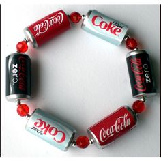 Coca Cola Bracelet with Red Glass Crystals ($14) ❤ liked on Polyvore