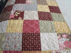 Quilted Patchwork  Bed Runner For Double or Queen Size Beds. $135.00, via Etsy.