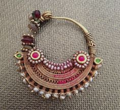 Antique Indian Pearl Gold Nath nose ring, and the Story behind it India Jewelry, Tribal Jewelry, Jewelry Art, Antique Jewelry, Jewelry Design, Fashion Jewelry, Ancient Jewelry, Jewellery, Nath Nose Ring