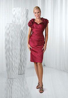 c40ee25444 Satin Wrap Knee Length Empire Applique   A Short Sleeve Mother Of The Bride  Dress