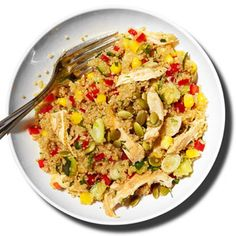 Quinoa Chicken Salad!  Quinoa full of essential amino acids our body needs.  Located in the organic section of your grocery section.