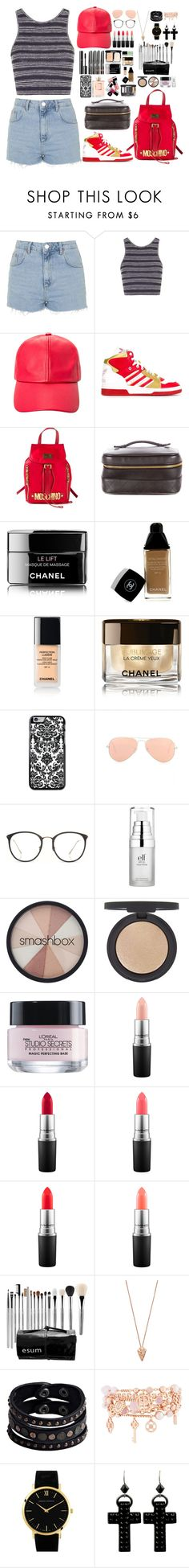 """""""I'm going out"""" by qaaspirin ❤ liked on Polyvore featuring Topshop, Ashley Stewart, adidas Originals, Moschino, Chanel, Lumière, Ray-Ban, Linda Farrow, Smashbox and L'Oréal Paris"""