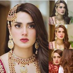 bridal jewelry for the radiant bride Pakistani Bridal Makeup, Pakistani Bridal Dresses, Pakistani Outfits, Wedding Day Makeup, Wedding Dress, Wedding Bride, Pakistani Bridal Hairstyles, Iqra Aziz, Pakistani Actress