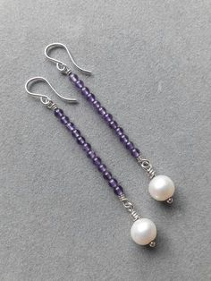 Sue - try this with the spring colored seed beads - Long Modern Sterling Silver Wire Wrapped Amethyst & Pearl Beaded Earrings, February Birthstone Old Jewelry, Beaded Jewelry, Jewelery, Silver Jewelry, Silver Ring, Jewelry Ideas, Jewelry Findings, Silver Earrings, Gemstone Jewelry