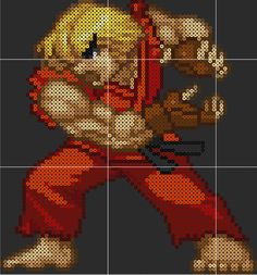Ken Street Fighter Perler Sprite Pattern Template by D1A13LO on DeviantArt