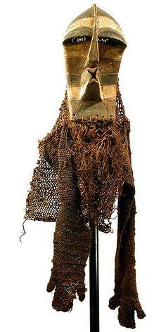 "SONGYE, D.R.Congo Mask kifwebe 52"" h with costume  Photographs © Tim Hamill"