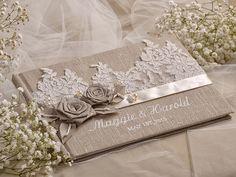 Wedding Guest Book Guestbook Lace Shabby Chic von forlovepolkadots