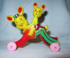 1950s-Hard-Plastic-Rosen-Rosbro-Easter-Bunny-and-Child-on-Wheels-NM-Rare