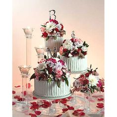 The 3 tier cascading cake stand set is perfect for small weddings and DIY  wedding cakes. Match these crystal look tiers with a homemade cake or a  simple design grocery store cake to create a beautiful economical display  for your wedding reception.   Item# CCS300  3 tier wedding cake stand set includes  1 eight-inch plate  1 ten-inch plate1 twelve-inch plate and  3 eight-inch  plates for bases  1 five-inch column   1 ten-inch column   1 fifteen-inch column