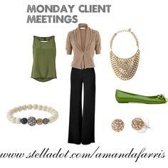 Stella & Dot thru the Week  Sierra Necklace  Revival Bracelet  Soiree Studs in Gold  www.stelladot.com/amandafarris