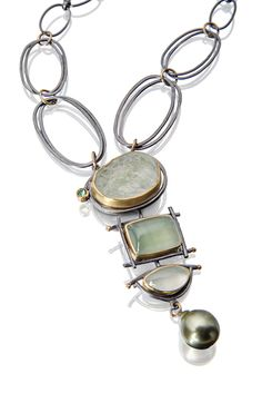 Cascade necklace in sea glass colors. Beryls, Tahitian pearl. http://sydneylynch.com