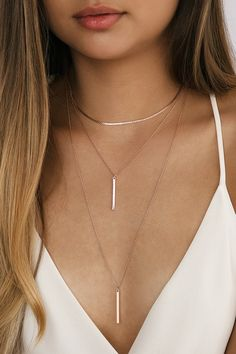 Give them a show in the Lulus Sleek Peek Rose Gold Layered Choker Necklace! Layers of snake chain and dainty rose gold chain with bar pendants. Rose Gold Chain, Rose Gold Jewelry, Dainty Jewelry, Cute Jewelry, Jewelry Accessories, Dainty Necklace, Cute Necklace, Jewelry Necklaces, Diamond Necklaces