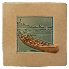 Canoe ceramic tile 4 x 4 inches