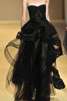 Evening gown, couture, evening dresses, formal and elegant Monique Lhuillier - #black #sheer #addaluxxiemaxi