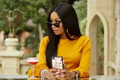 FYI: Bonang Matheba's Reality Show 'Being Bonang' Returns For Season 2 Yellow Crop Top, Yellow Blouse, White Outfits, Matching Outfits, Cool Girl Outfits, Coral Sandals, Clear Shoes, Friends Laughing, Legs For Days