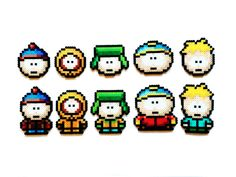 This set of South Park perler sprites is handmade to order.    You can choose 1 character, a set of 4 or a full set of 5 from the following: