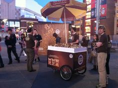 Our cute Snyder's of Hanover cart stocked with free Flavored Pretzel Pieces for one of 5 live celebrations around the US for #NationalPretzelDay April 26, 2013. This shot is from the #Twins vs. #Rangers game in Minneapolis.