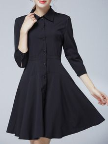Black Lapel Buttons Shirt Dress