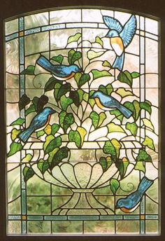 Leaded stained glass with painted detail<br /> Door installation<br /> Private commission (Contemporary Glass, Stained Glass)