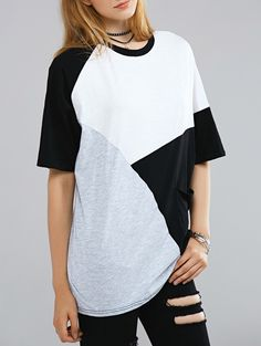 $22.72 Color Block Round Neck Half Sleeve T-Shirt - WHITE/BLACK ONE SIZE(FIT SIZE XS TO M)