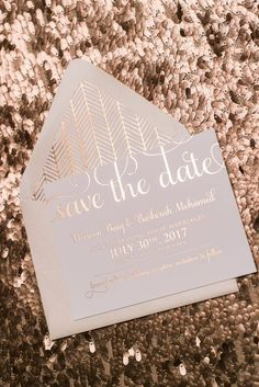 Adele Suite Save the Date in Rose Gold Foil!! sparkle foil, rose gold foil, rose gold, save the date, save the date invitations, wedding invitations, patterned, patterned envelope liner, blush, blush and rose gold, adele