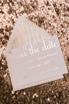 Adele Suite Save the Date in Rose Gold Foil!! sparkle foil, rose gold foil, rose gold, save the date, save the date invitations, wedding invitations, patterned, patterned envelope liner, blush, blush and rose gold, adele
